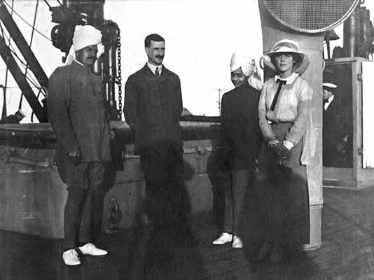 On board the Maloja, the young Maharaja of Jodhpur, aged 13, with his guardian Thakur Dhokal Singh (left) and Sylvia Brooke (right). Both Indians became close friends of Lilah. The Maharaja was allowed to attend the Durbar on condition that he returned immediately after to his British school, Wellington College.