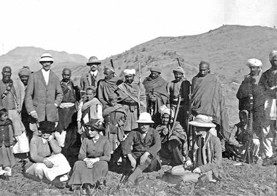 Lilah (sitting second left) on the Khyber Pass at the furthermost border of the British frontier with an armed escort