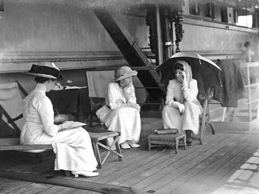 On board the Malwa, Alice Teck (left), Mrs Fitzroy and Lady Adelaide Colville
