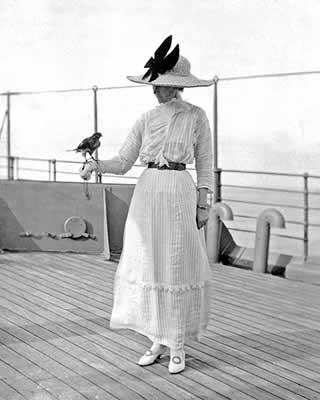 Mrs Fitzroy on board with one of her many Indian birds given to her by a maharaja